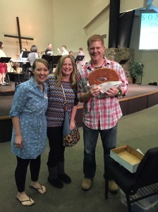 two friends from church with my birthday present right before I preached.